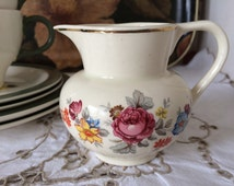 Sandland Lancaster Ltd English Ware Milk Jug/Creamer  made in Hanley, England. Cream with Pretty Floral Detail and Gold Rim