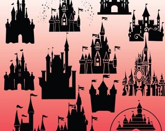 12 cinderella castle silhouette, cinderella castle, Clipart Images, Clipart Design Elements, Instant Download, Black Silhouette Clip art