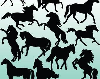 12 Horse Silhouette, Digital Clipart Images, Clipart Design Elements, Instant Download, Black Silhouette Clip art