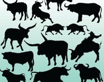 12 Bull Silhouette Digital Clipart Images, Clipart Design Elements, Instant Download, Black Silhouette Clip art