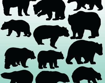 12 Bear Silhouette Digital Clipart Images, Clipart Design Elements, Instant Download, Black Silhouette Clip art