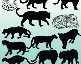 12 Leopard Silhouette Clipart Images, Clipart Design Elements, Instant Download, Black Silhouette Clip art