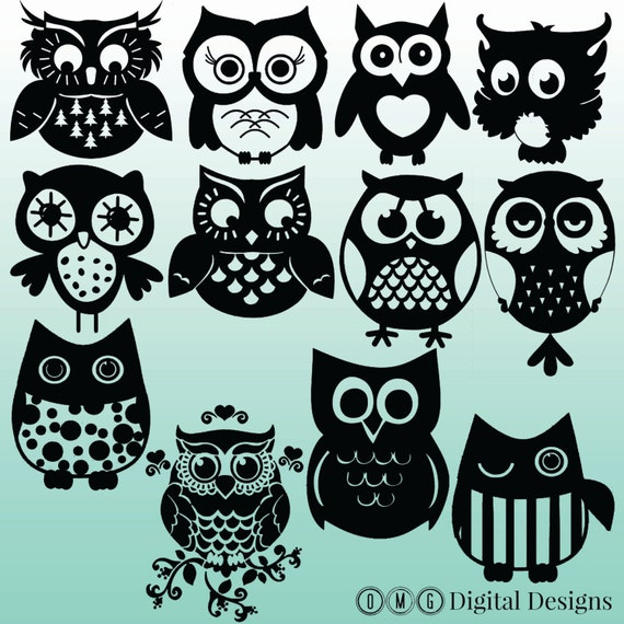 12 Owl Silhouette Images Digital Clipart