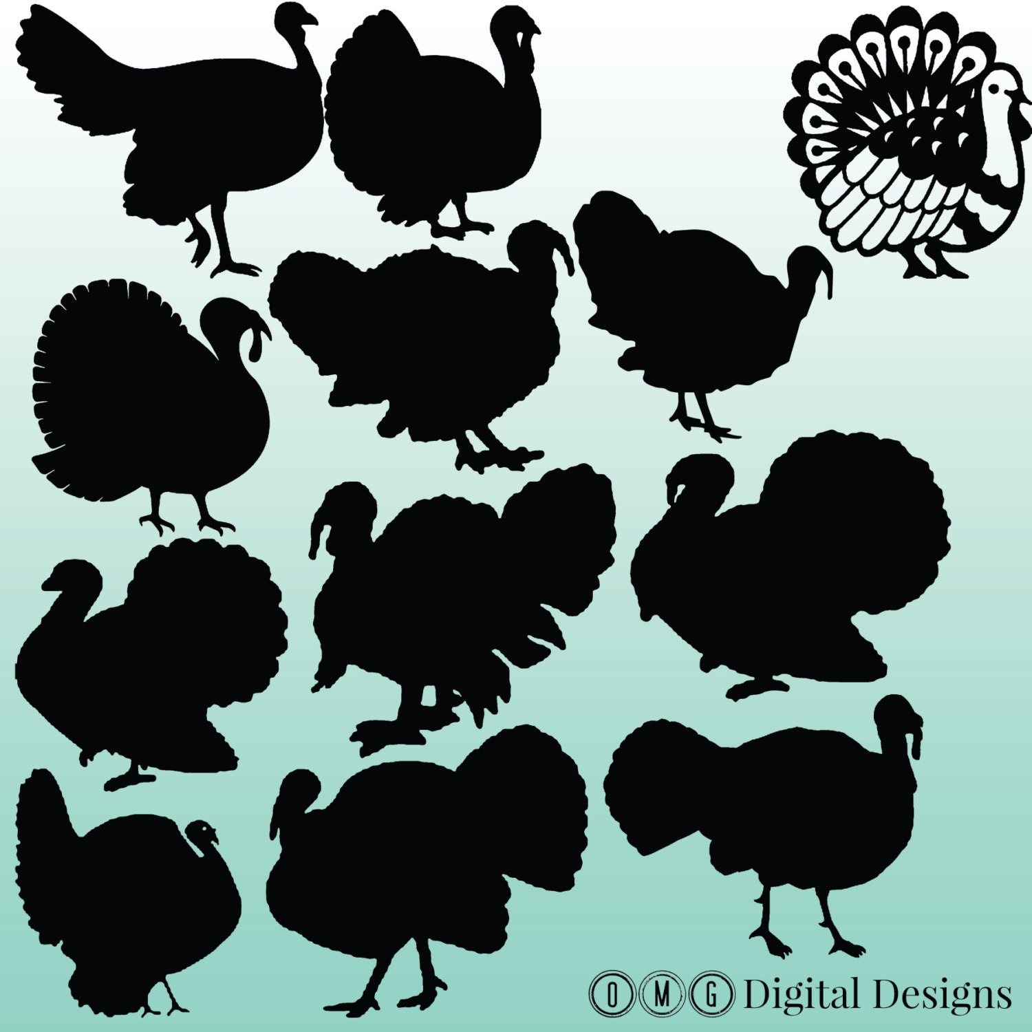 12 turkey silhouette clipart images clipart design elements for Turkey for 12