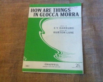 SALE WAS 4 Vintage Sheet Music. Song. For Piano and Voice. How Are Things In Glocca Morra from Finnians Rainbow 1946. 1940s. 40s.