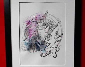Owl zentangle, original watercolor painting.