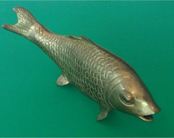 Vintage Solid Brass Koi Fish Figurine Carp Sculpture Hollywood Regency Made in India