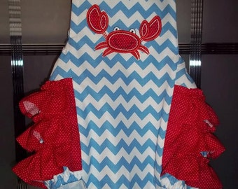 Chevron Crab appliqued baby romper with ruffles
