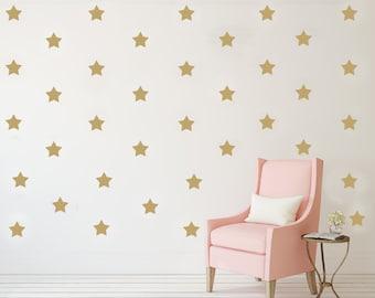 Gold star decals, vinyl decals, black star decal, gold stars decals, wall decals, two inches star vinyl, metallic gold decal