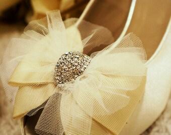 Custom Ivory White Bridal Shoes - BONNIE, Sheer Netting Ribbon Bow with Crystals Diamonte, Peep Toe Pump Bride's Wedding Shoes