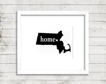 Massachusetts Home Massachusetts State Print Massachusetts Art Massachusetts Wall Decor Massachusetts Home Heart Massachusetts State Custom