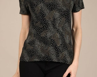 Textured animal print elastic top