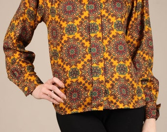 Medallion print button-down blouse