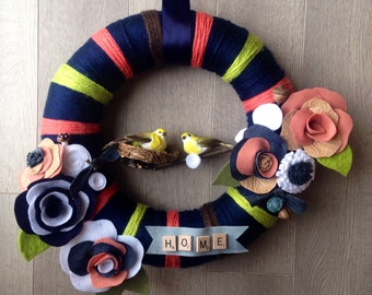Spring Yarn Wreath, Yarn Wreath, Housewarming Wreath, New Home Wreath, Bird Wreath, Felt Flower Wreath