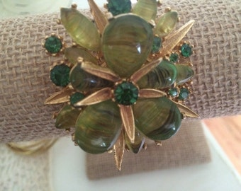 Vintage Green Rhinestone Brooch