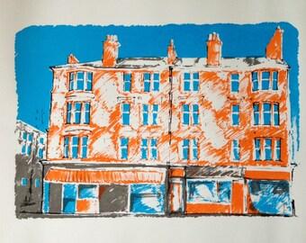 Handmade Scottish Tenement Screenprint