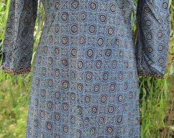 Kurta Style Indigo Block Print Dress