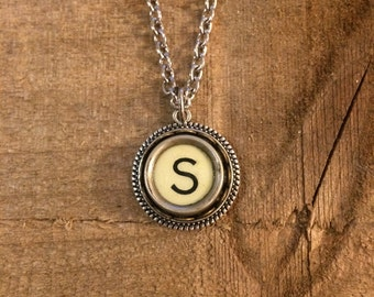 Necklace, Typewriter Key, Vintage,  Letter S