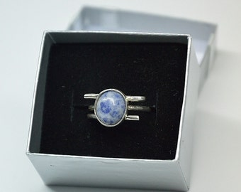 With blue natural stone sterling silver ring