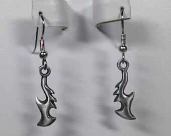 Pewter Scythe Charm Earrings -PE008