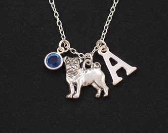 initial necklace, pug necklace, birthstone necklace, silver pug dog charm on silver plated chain, dog lover gift, pug jewelry, dog memory