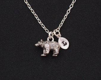 bear necklace, sterling silver filled, initial necklace, silver 3D bear charm, grizzly bear jewelry, wild bear jewelry, Christmas, birthday