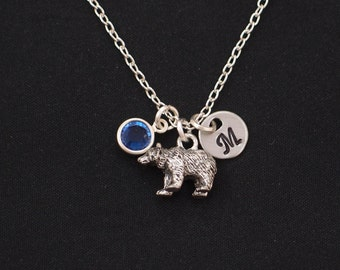 initial necklace, bear necklace, birthstone necklace, long necklace option, silver 3D bear charm on silver plated chain,grizzly bear jewelry