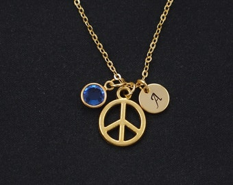 initial necklace, peace sign necklace, birthstone necklace, gold peace sign charm, anti war, peace symbol jewelry, peace necklace, dainty