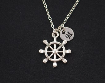 initial necklace, nautical steering wheel necklace, silver helm charm on silver plated chain, ship's steering wheel, friendship necklace