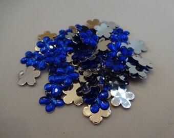 25 cobalt blue resin flowers 10 mm flatback cabochon embellishment flatback scrapbook DIY phone resin cabochon flowers