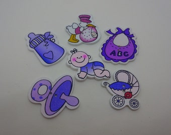 6 pcs new baby wooden buttons blue scrapbook children crafts two holes