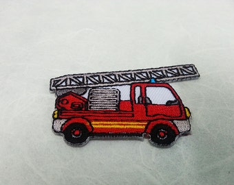 Fire Engine Iron on patch (S) 5.6 x 3.5 cm - Fire Engine Applique Embroidered Iron on Patch # 2