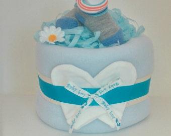 Blue Nappy Cake single tier Baby Boy baby shower Gift