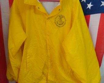 1988 Big Ten  Tennis Championships button down jacket size xl 46-48/hartwell/RAQUET/rero/long sleeve/yellow/windbreaker