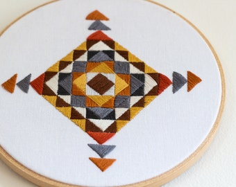 Southwestern Neutral Tone Hand Embroidery - 7 inch hoop // Geometric Wall Decor