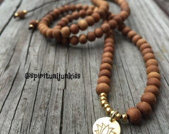 108 Bead Spiritual Junkies Sandalwood Yoga and Meditation Mini Mala (6 mm beads) with Hill Tribe Gold Vermeil Lotus + Seed Beads