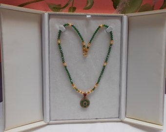 Handmade Emerald  Swarovski crystal Neclace, 24k gold plated seed beads with Emerald Turkish Pendant