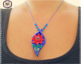Handmade Polymer Clay Flower on the Leaf Pendant/ Necklace