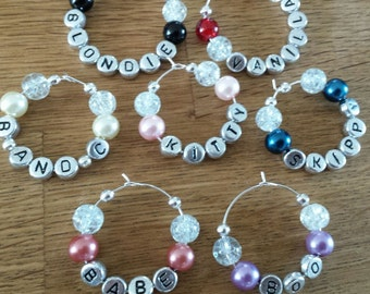 Wine glass charms, personlised, hen night charms,hen favours, girl's night,  gifts for her