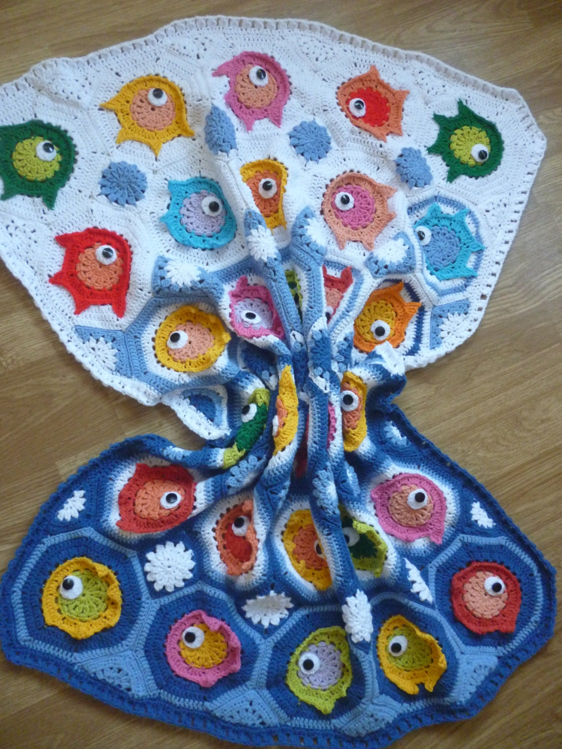 Crochet Fish Puzzle Baby Blanket Crochet Throw By