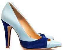 Emma Blue Leather Stiletto Pumps