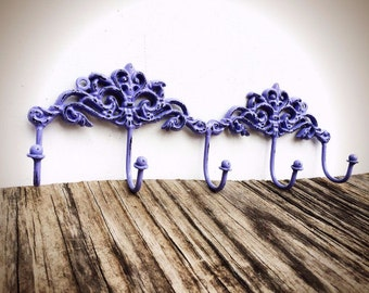 BOLD lilac purple ornate towel hook // Victorian vintage inspired // cottage chic // wall hook // shabby chic // keys hook