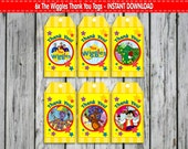 6x THE WIGGLES Thank you Tags Printable Favour Tags Labels Digital Download File Thank You Labels Kids Birthday Party Party Treat Bags Tags