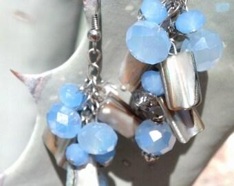 Crystal shell cluster earrings periwinkle blue