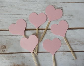 Pink Heart Cupcake Toppers -  Birthday - Baby Shower