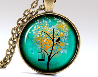 Turquoise Tree Necklace Art Jewelry Tree Pendant Turquoise Tree Pendant Tree of Life Necklace LG278