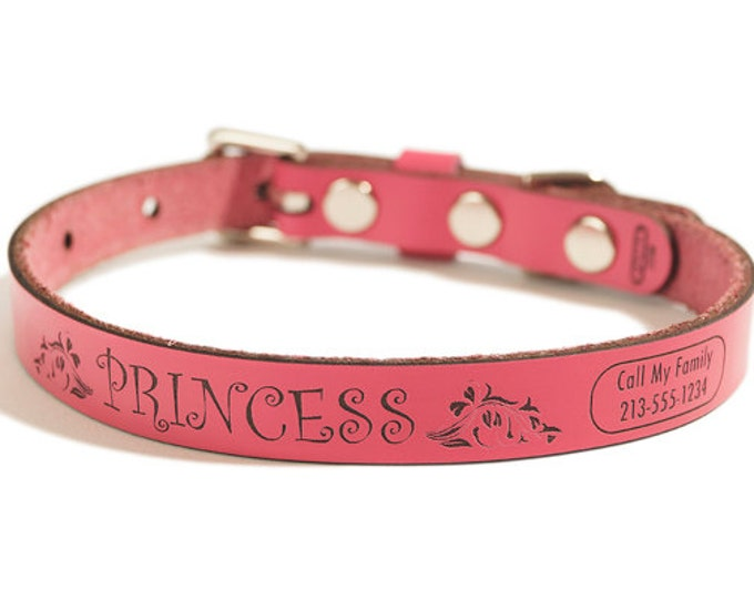 ID DOG COLLAR Customize Easy - Small - Princess Design - Personalized Leather Dog Collar