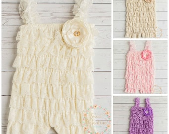 Ivory lace romper, Petti lace romper, Baby smash cake- Baby Girl 1st Birthday,Petti rompers,Flower Girl dress, Baby girl Christening dress,