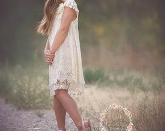 Flower Girl dress, Ivory lace dress,rustic flower girl dress,christening baptism dress, baby girl dress, juniors bridesmaid, rustic wedding