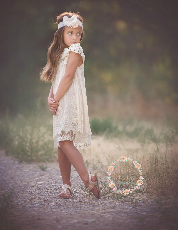 Flower Girl dress Ivory lace dressrustic flower girl